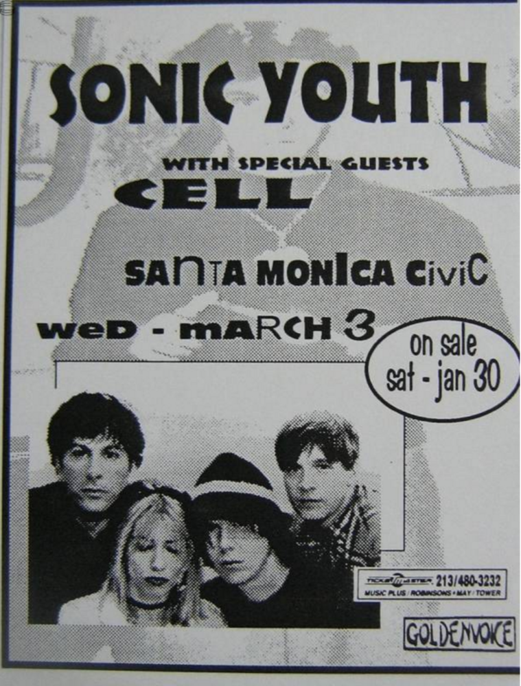 Sonic Youth – Cell at Santa Monica Poster 1993